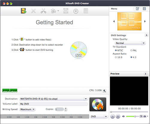 Xilisoft DVD Creator for Mac Screenshot