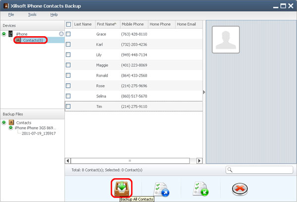 Xilisoft iPhone Contacts Backup