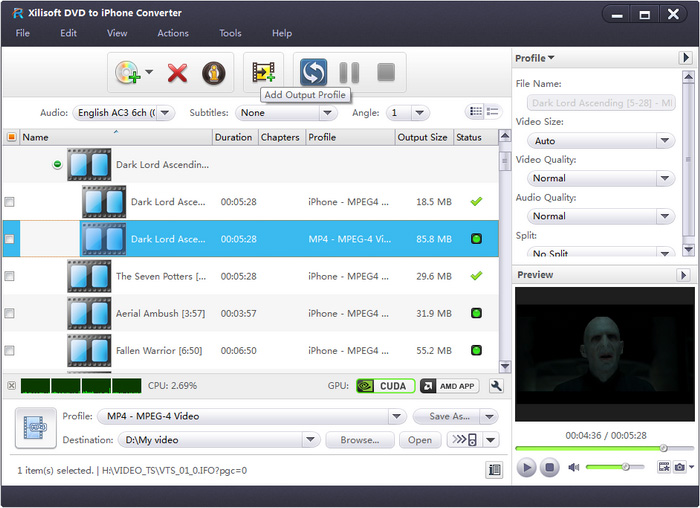 Xilisoft DVD to iPhone Converter - convert DVD to iPhone, convert DVD to iPhone